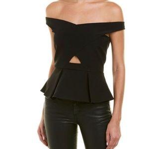 Parker Davina Off Shoulder Cutout Top - Black